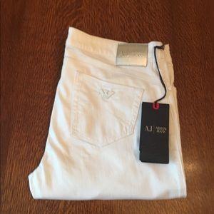 "Armani Jeans, White ""iris"" skinny fit jeans"